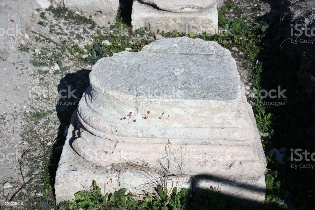 Antique heart shaped column in Gadara Umm Qais in Jordan, Middle East stock photo