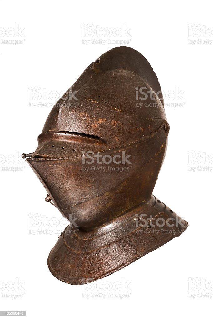 antique helmet for a knight original isolated on white stock photo
