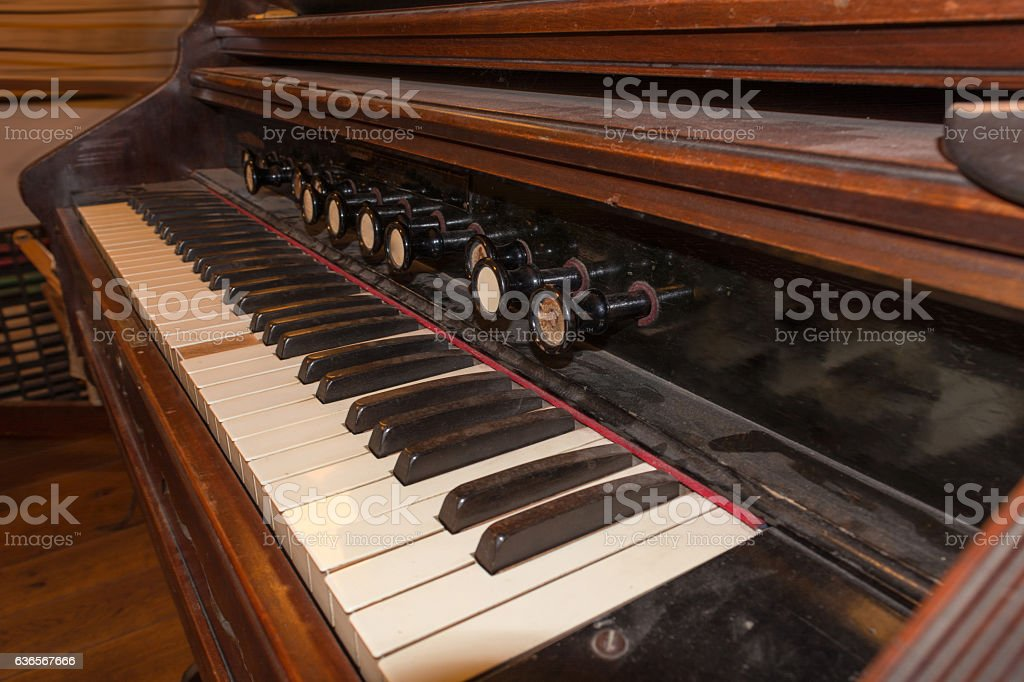 Antique historical piano stock photo