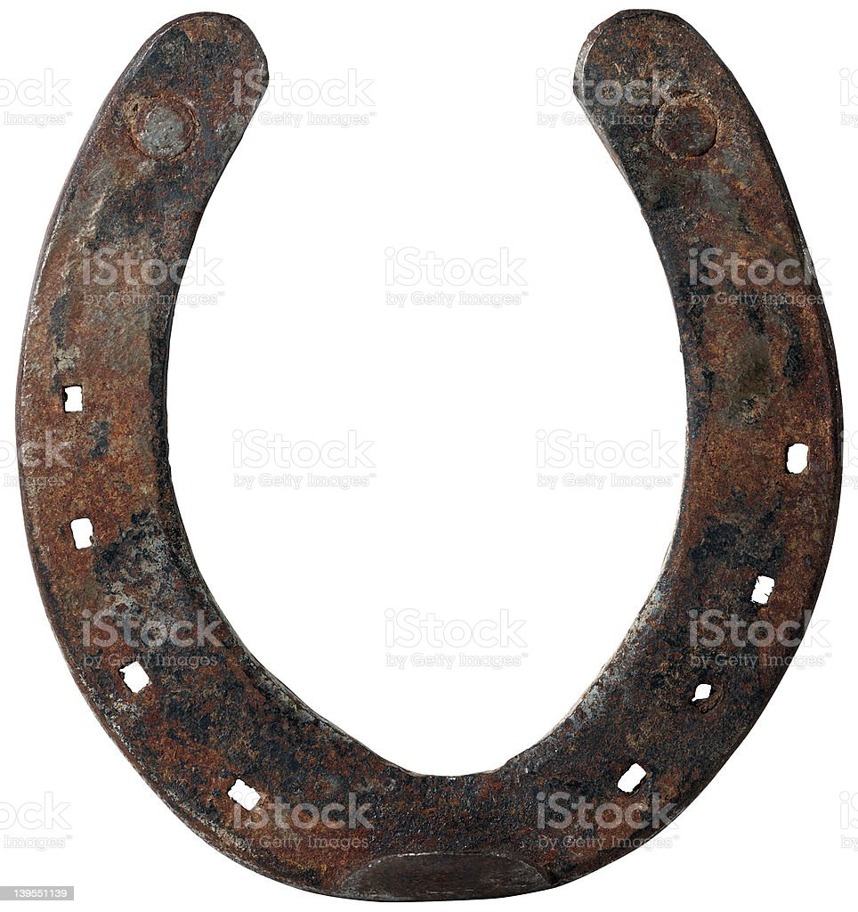 antique horseshoe inside stock photo