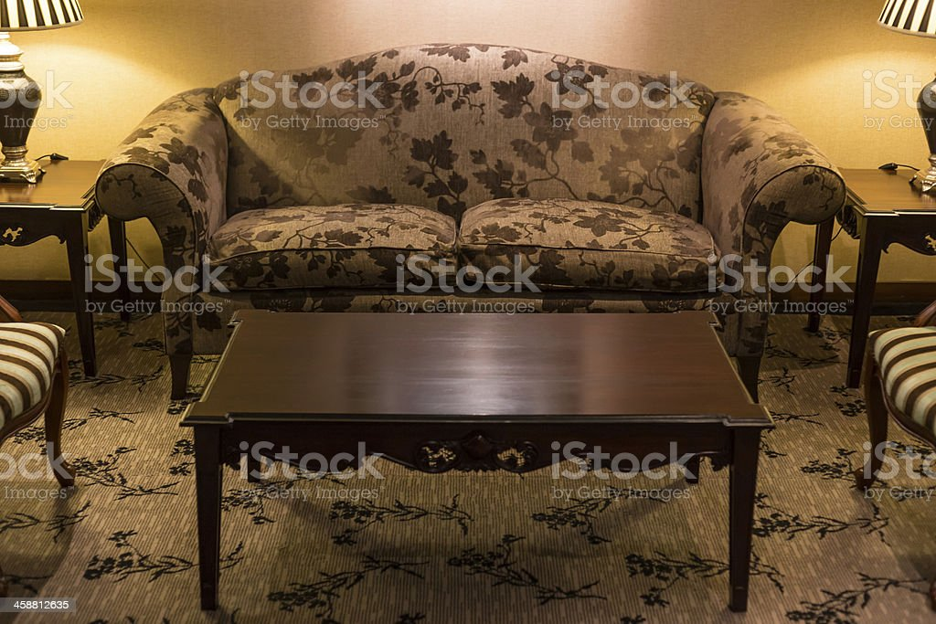 Antique hotel sofa and chairs royalty-free stock photo