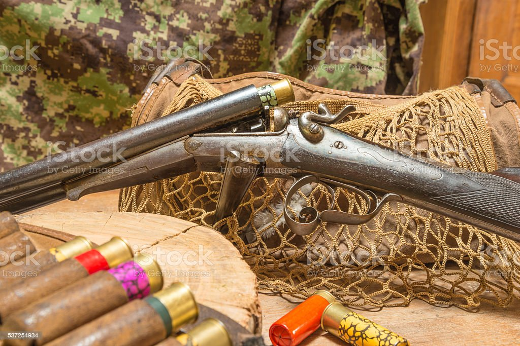 Antique hunting gun, hunting belt with cartridges stock photo