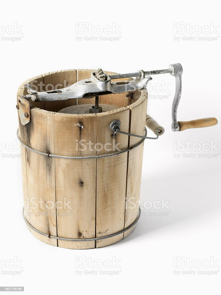 antique ice cream churn stock photo