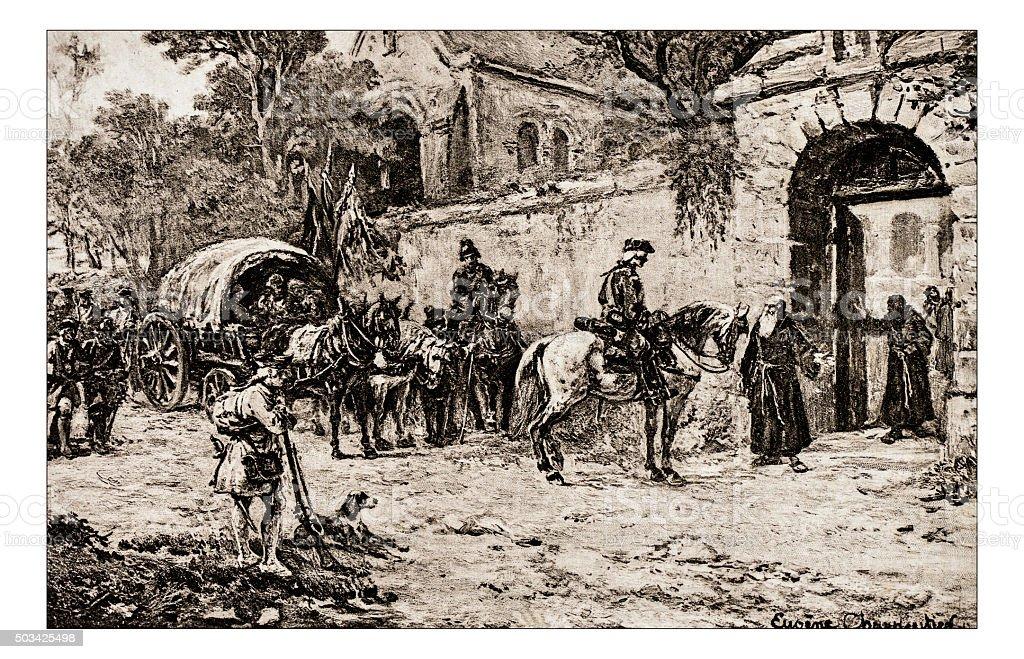 Antique illustration of 'Apres la bataille' by Charpentier stock photo