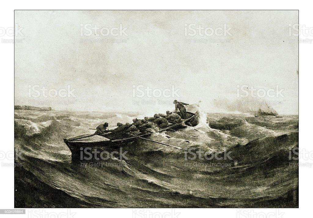 Antique illustration of 'Canot de sauvetage' by Berthelemy stock photo
