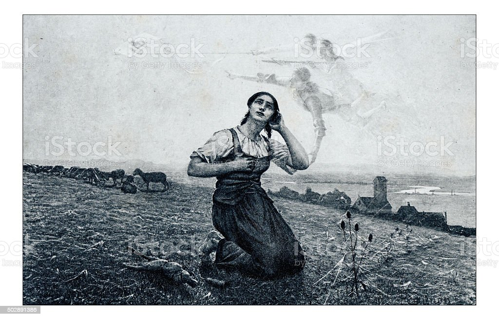 Antique illustration of 'Jeanne d'Arc' by Paupion stock photo