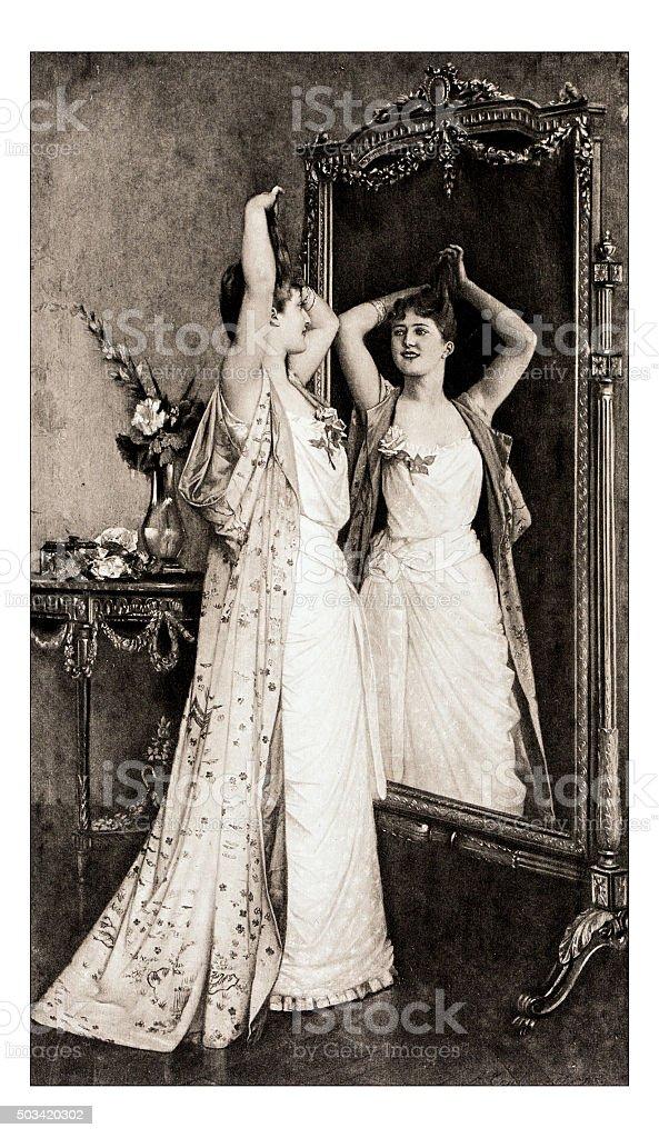 Antique illustration of 'La toilette' by Toulmouche stock photo