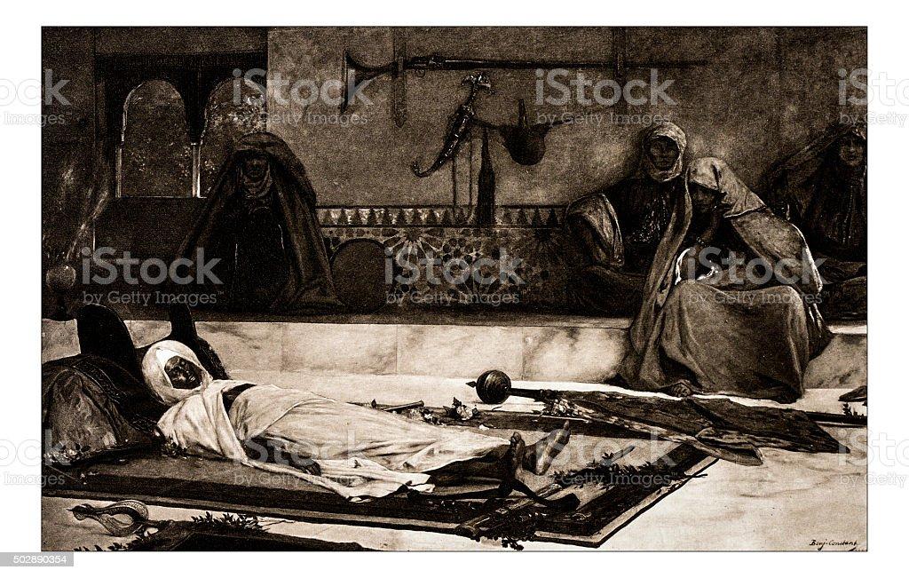 Antique illustration of 'Le jour des funerailles' by Constant stock photo