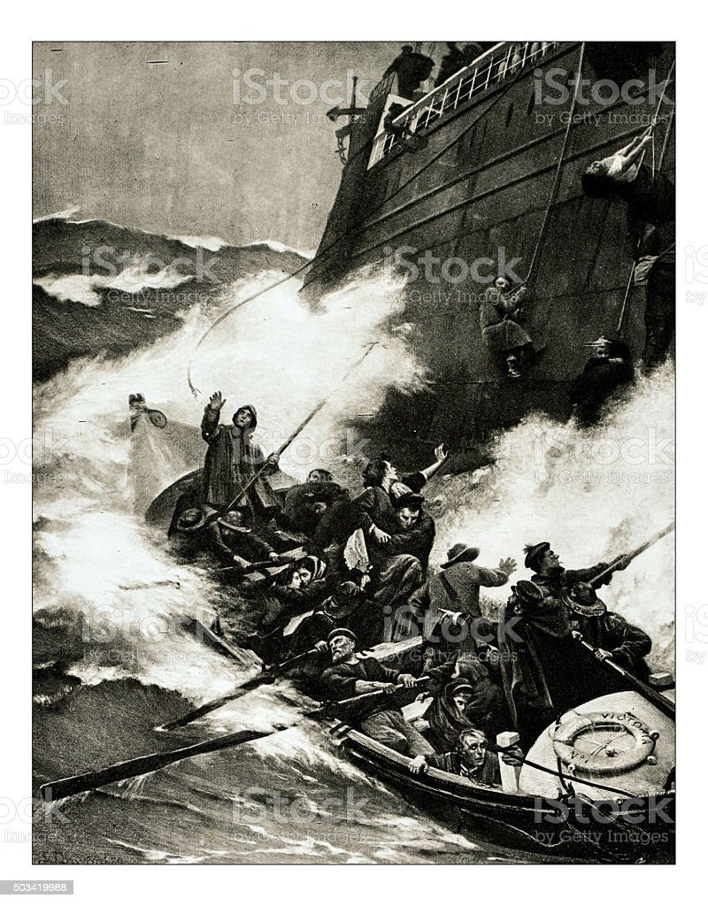 Antique illustration of 'Le sauvetage' by Dawant stock photo