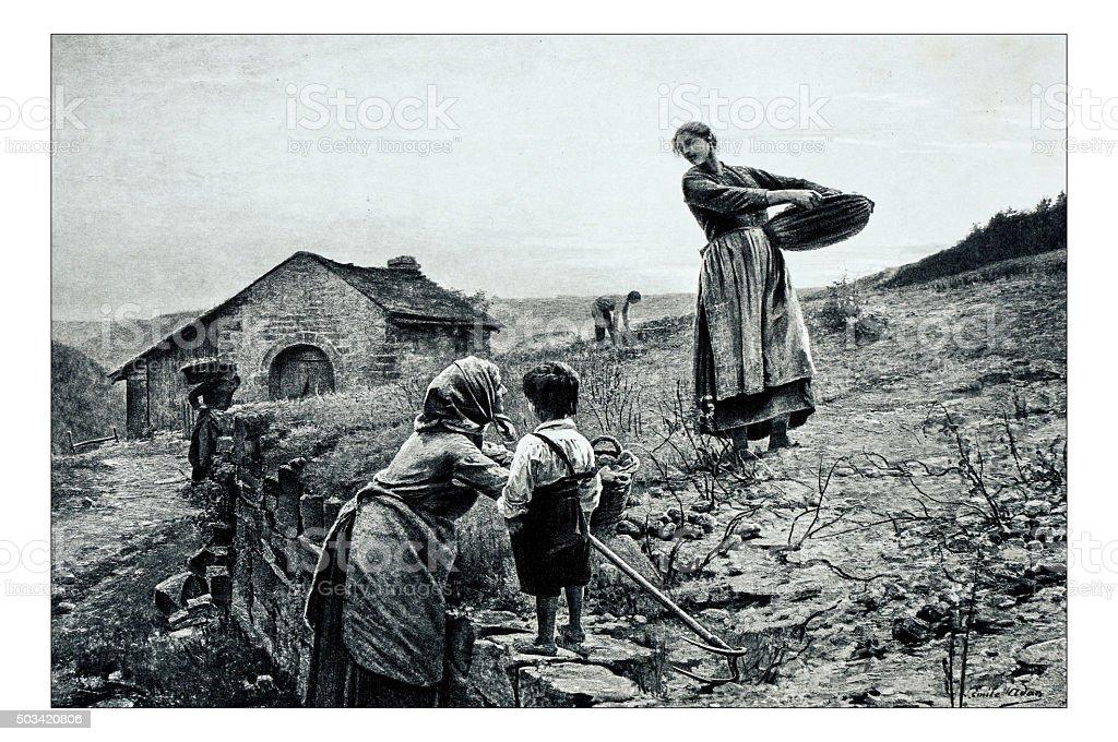 Antique illustration of 'Le soir' by Adan stock photo