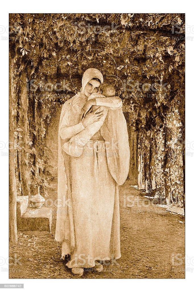 Antique illustration of 'Madone' by Dagnan-Bouveret stock photo