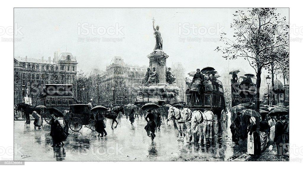 Antique illustration of 'Place de la Republique' by Checa stock photo