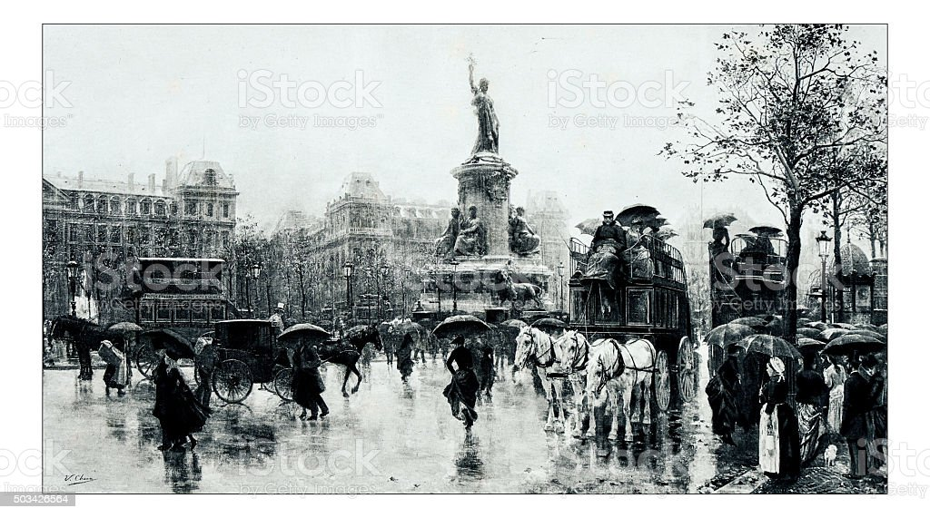 Antique illustration of 'Place de la Republique' by Checa stock photo