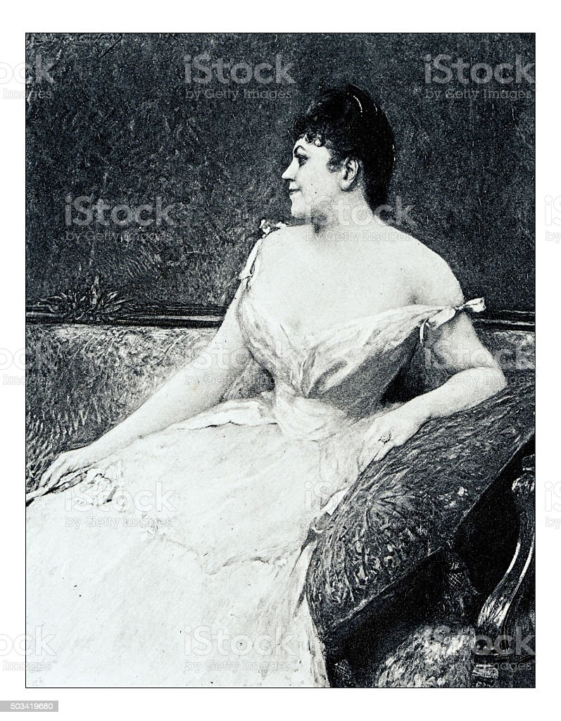 Antique illustration of 'Portrait de Madame PD' by Benjamin-Constant stock photo
