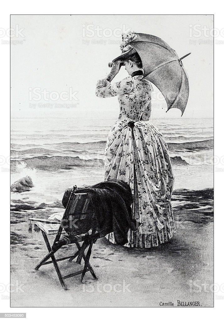 Antique illustration of 'Sur la plage' by Bellanger stock photo