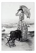 Antique illustration of 'Sur la plage' by Bellanger