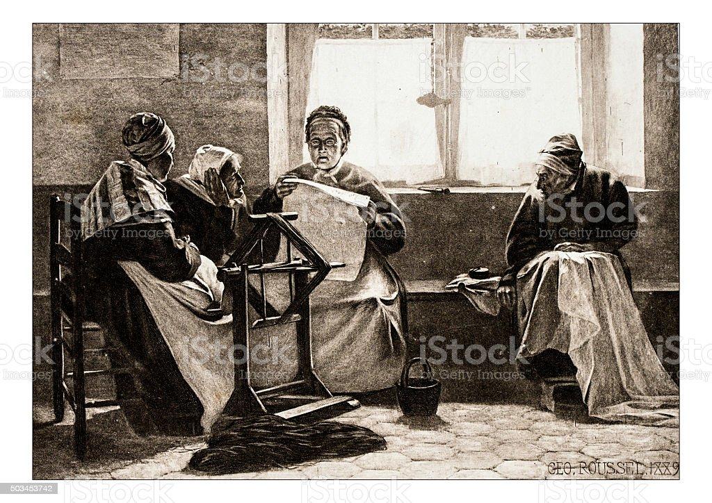 Antique illustration of 'Un coin de fenetre a l'hospice' stock photo