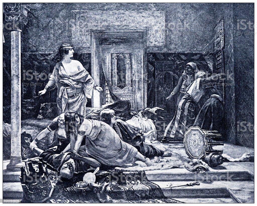 Antique illustration of 'Un vengeance au harem' by Bouchard stock photo