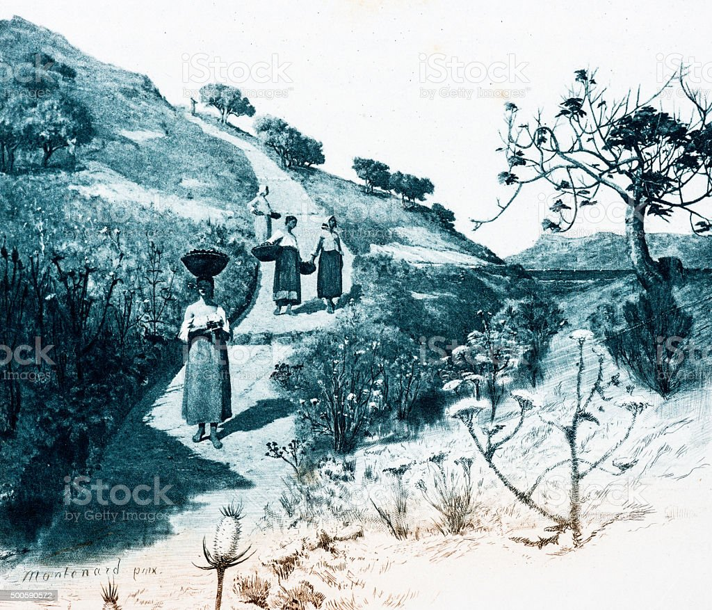 Antique illustration of women in countryside stock photo