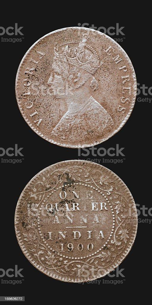 Antique India Coin stock photo
