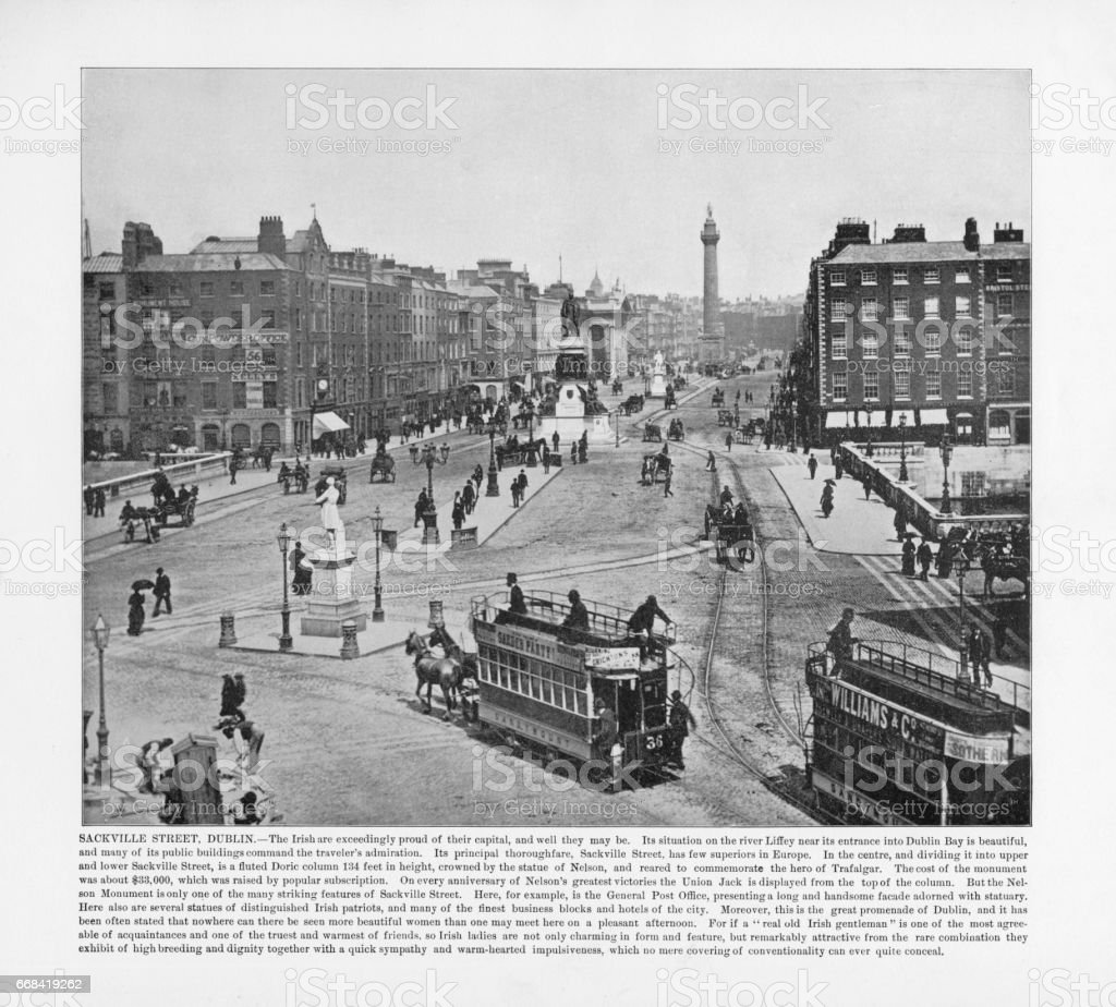 Antique Ireland Photograph: Sackville Street, Dublin, Ireland, 1893 stock photo