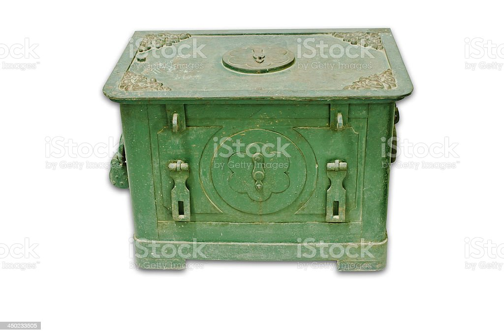 Antique iron safe isolated on white background with clipping path royalty-free stock photo