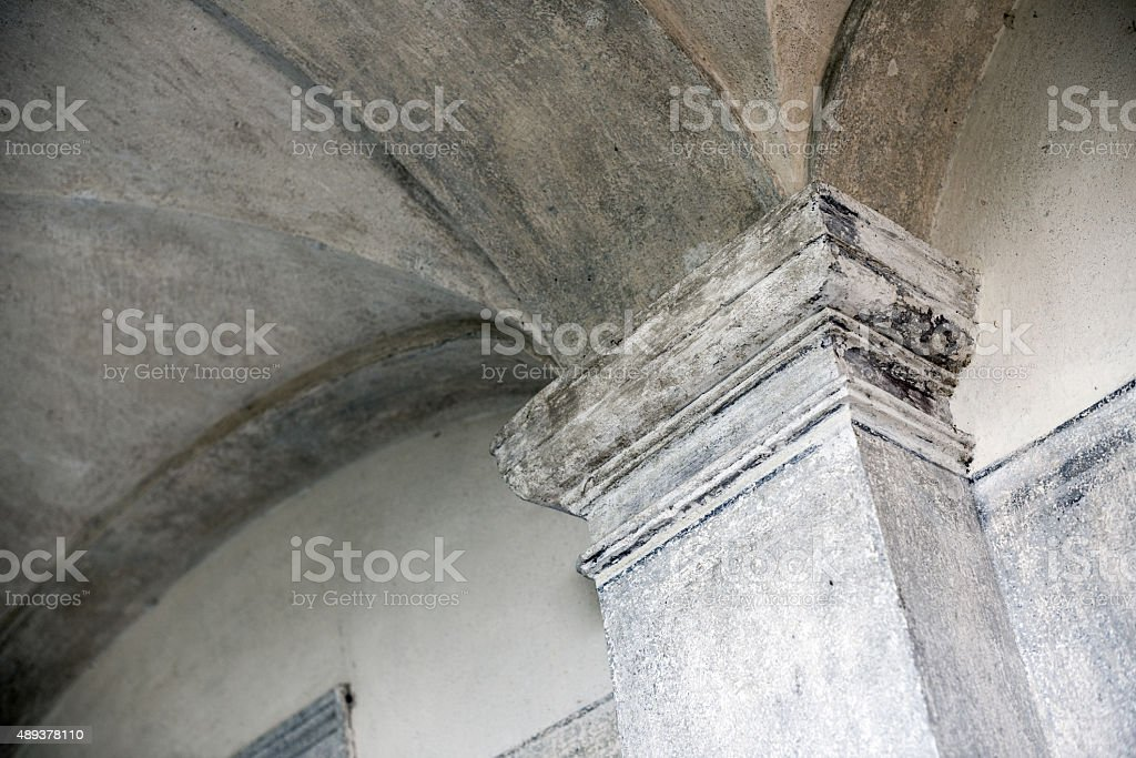 Antique Italian monastery (circa 1500-1600) architecture: columns stock photo