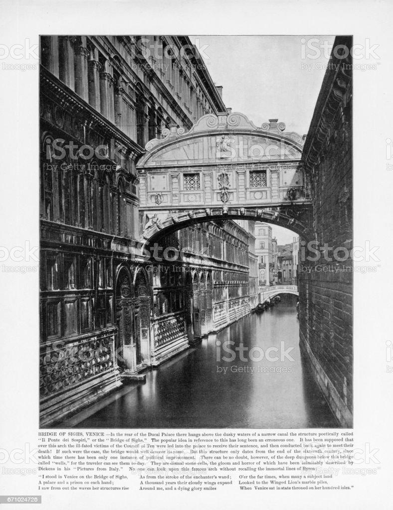 Antique Italian Photograph: Bridge of Sighs, Venice, Italy, 1893 stock photo