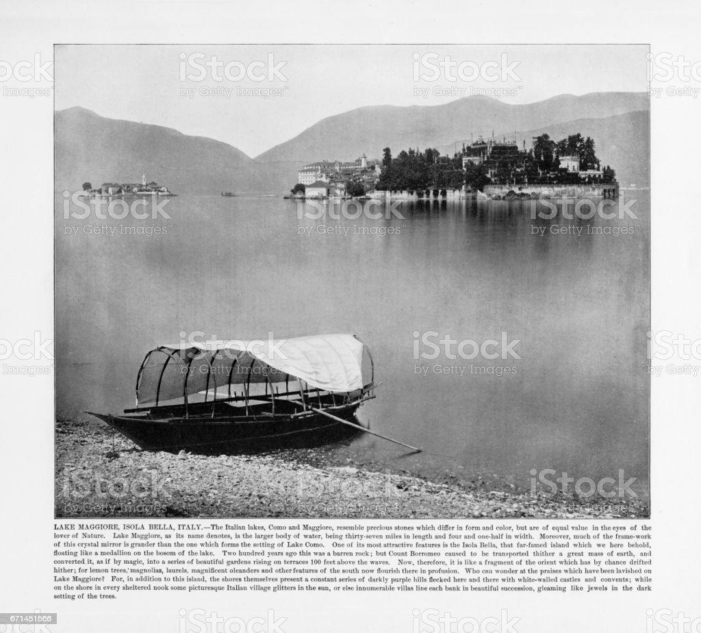 Antique Italian Photograph: Lake Maggiore, Isola Bella, Italy, 1893 stock photo