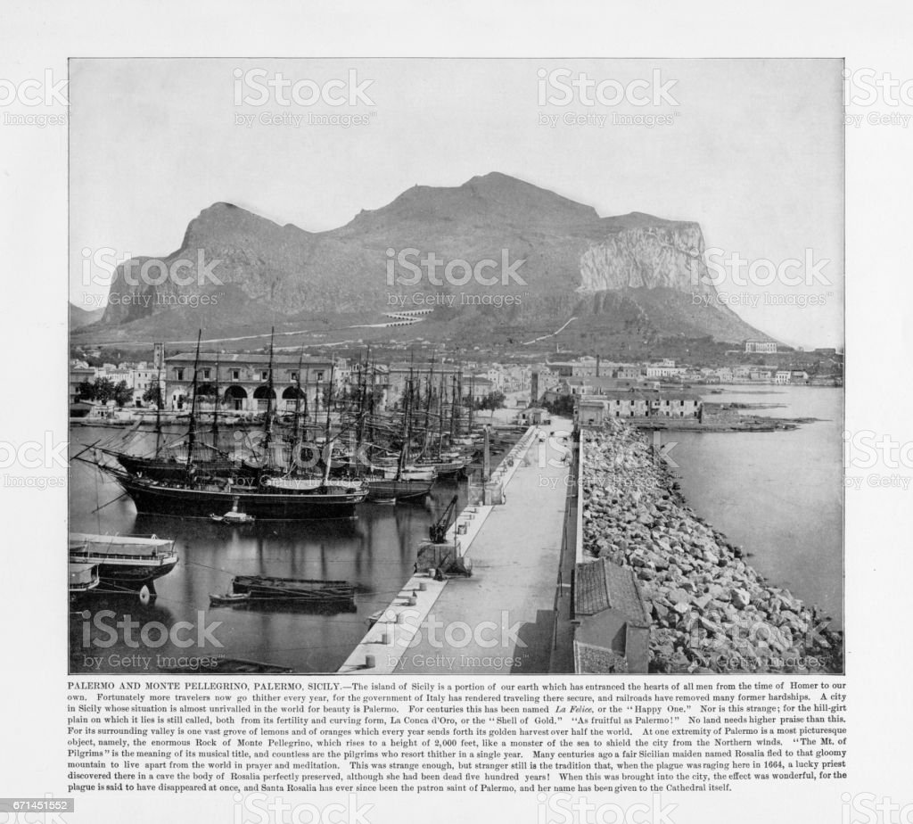 Antique Italian Photograph: Palermo and Monte Pellegrino, Palmero, Sicily, Italy, 1893 stock photo