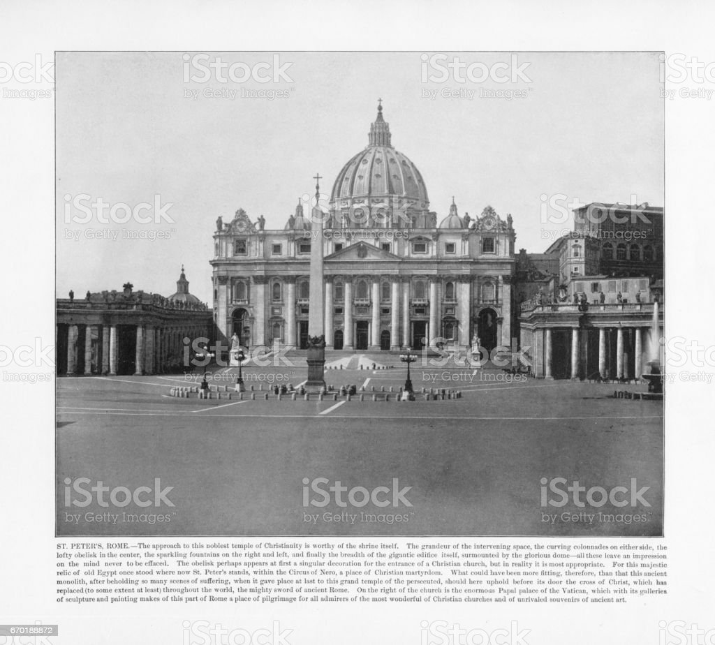 Antique Italian Photograph: St. Peter's, Rome, Italy, 1893 stock photo