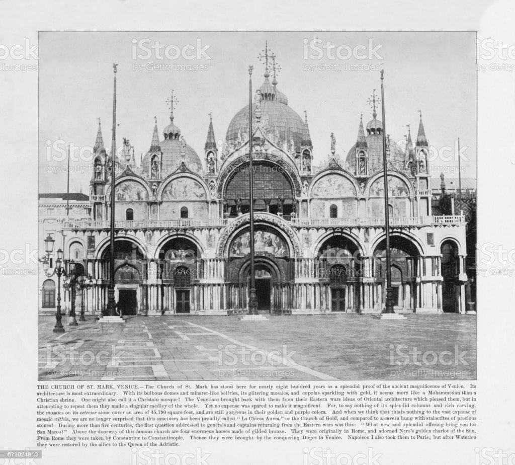 Antique Italian Photograph: The Church of St. Mark, Venice, Italy, 1893 stock photo