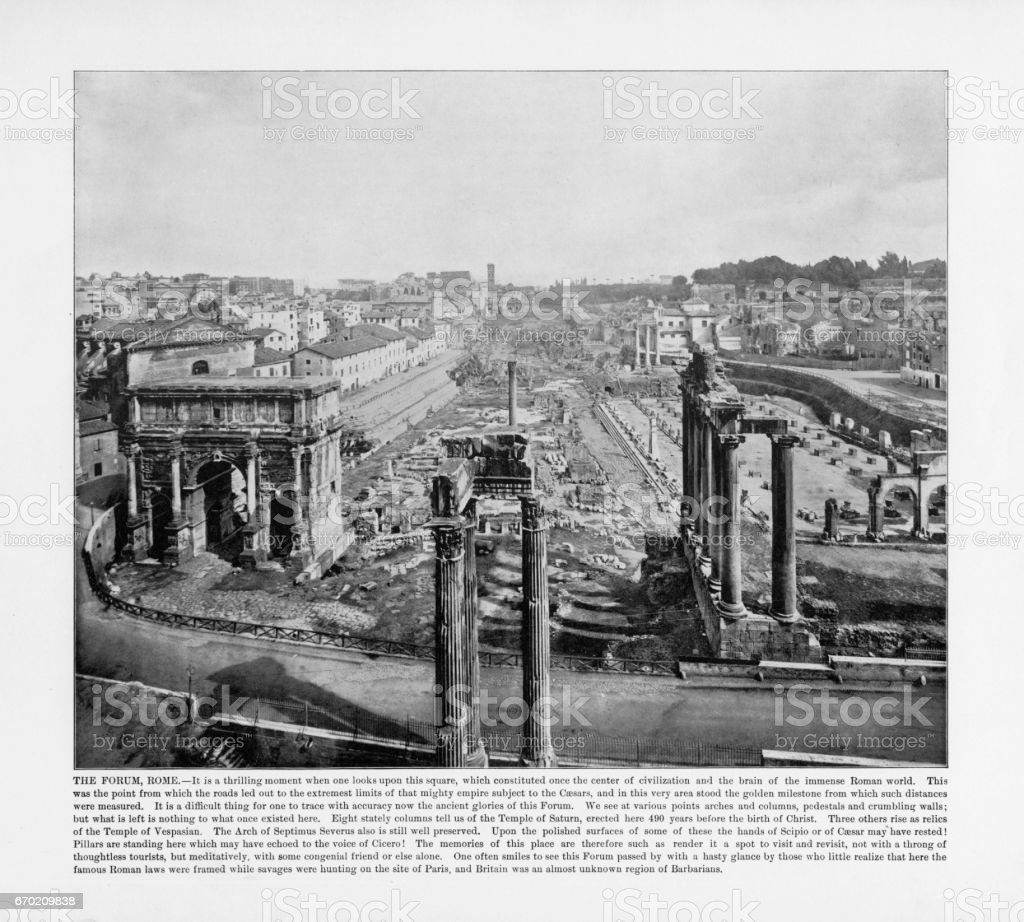 Antique Italian Photograph: The Forum, Rome, Italy, 1893 stock photo