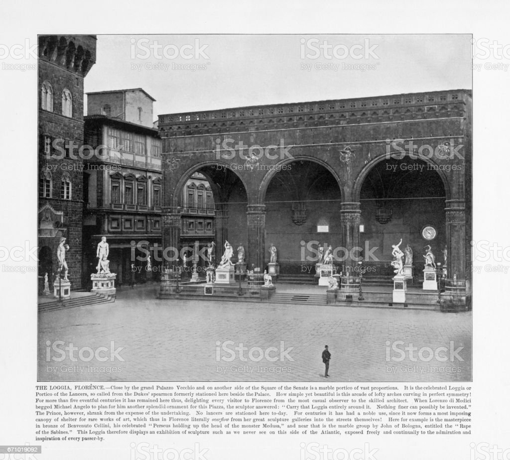 Antique Italian Photograph: The Loggia, Florence, Italy, 1893 stock photo