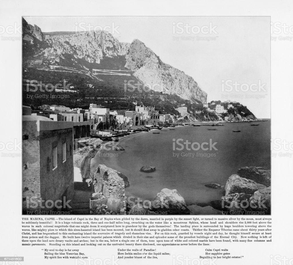 Antique Italian Photograph: The Marina, Capri, Italy, 1893 stock photo
