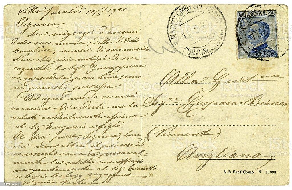 Italien ancienne carte postale (1921 photo libre de droits