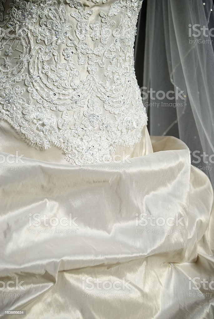 Antique Ivory Wedding Dress Detail stock photo