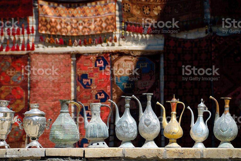 Antique Jars in samarkand's store stock photo