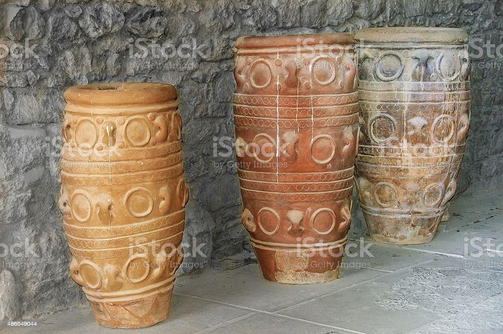 antique jars of Knossos stock photo