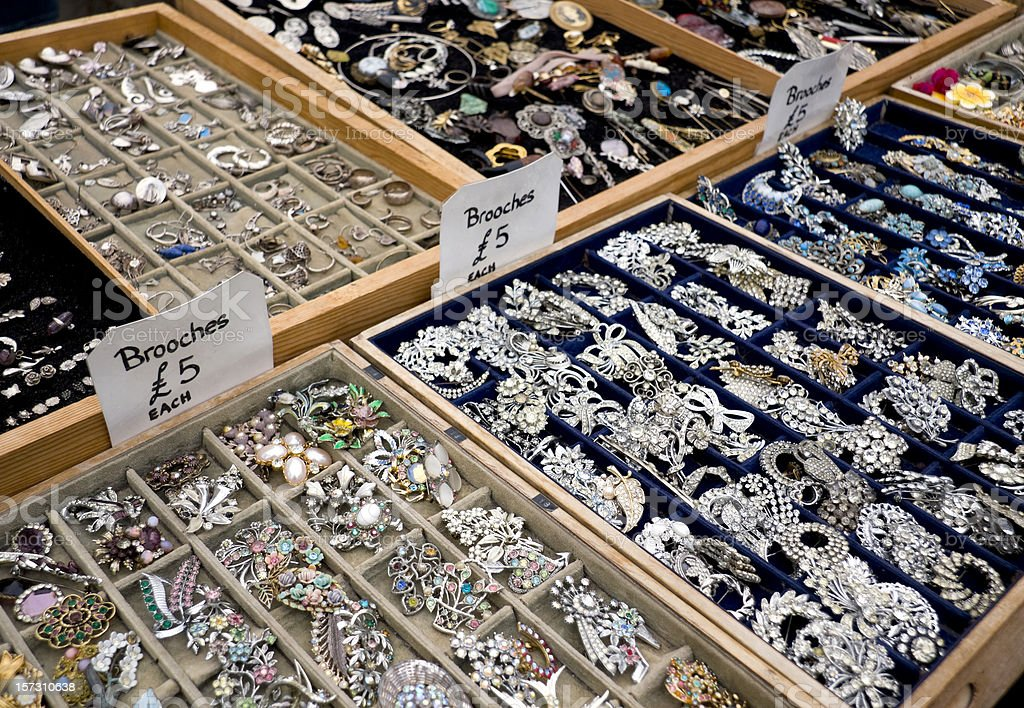 Antique jewellery stall royalty-free stock photo