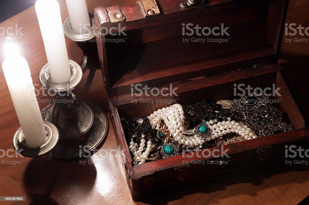 Antique jewelry box stock photo