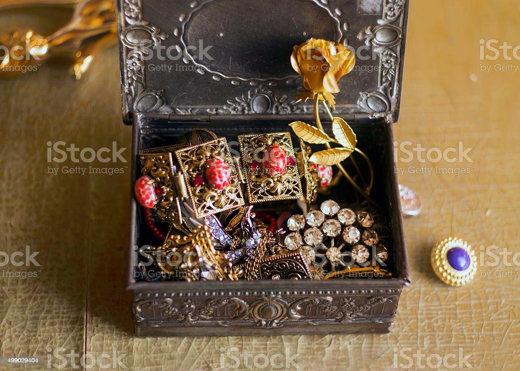 Antique jewelry box with vintage jewelry, treasuries stock photo