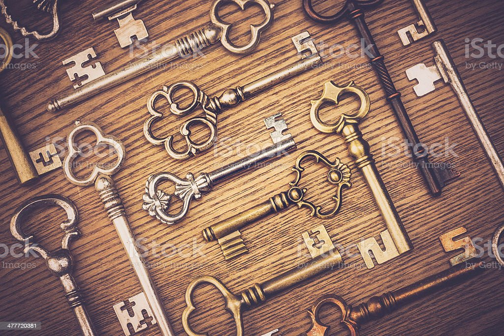 Antique Key Collection stock photo