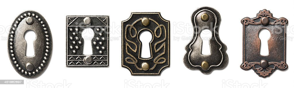 Antique Keyhole Isolated on White Background stock photo