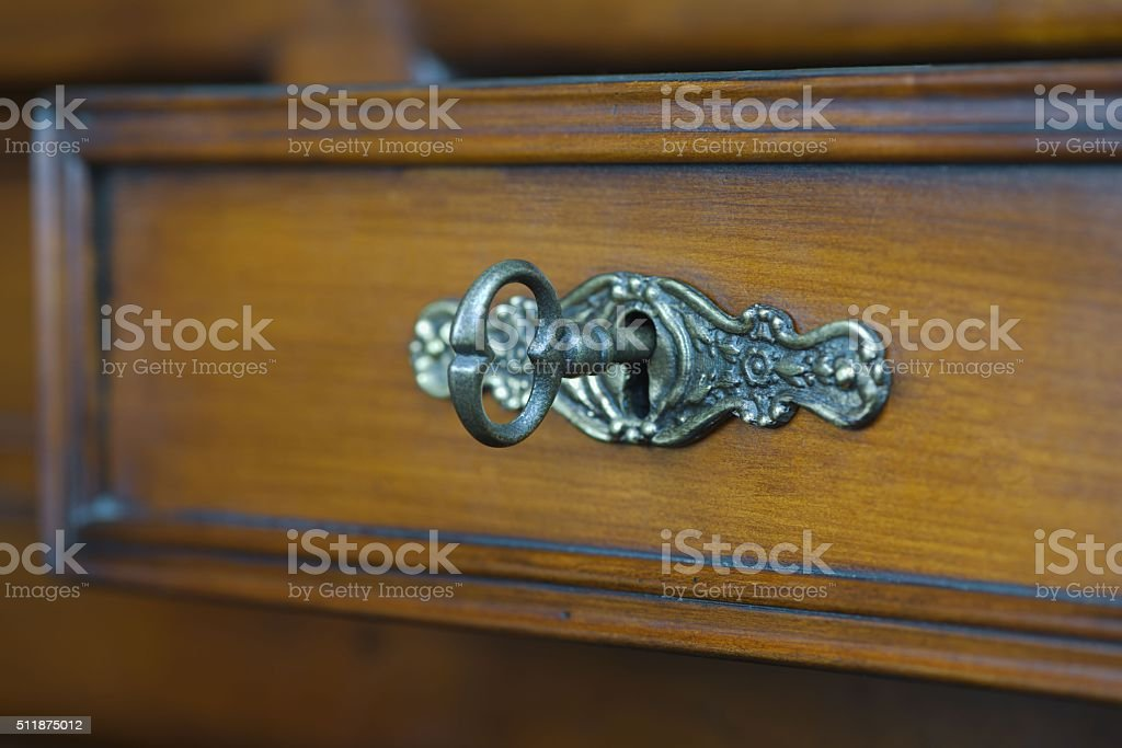 Antique keyhole with a key stock photo