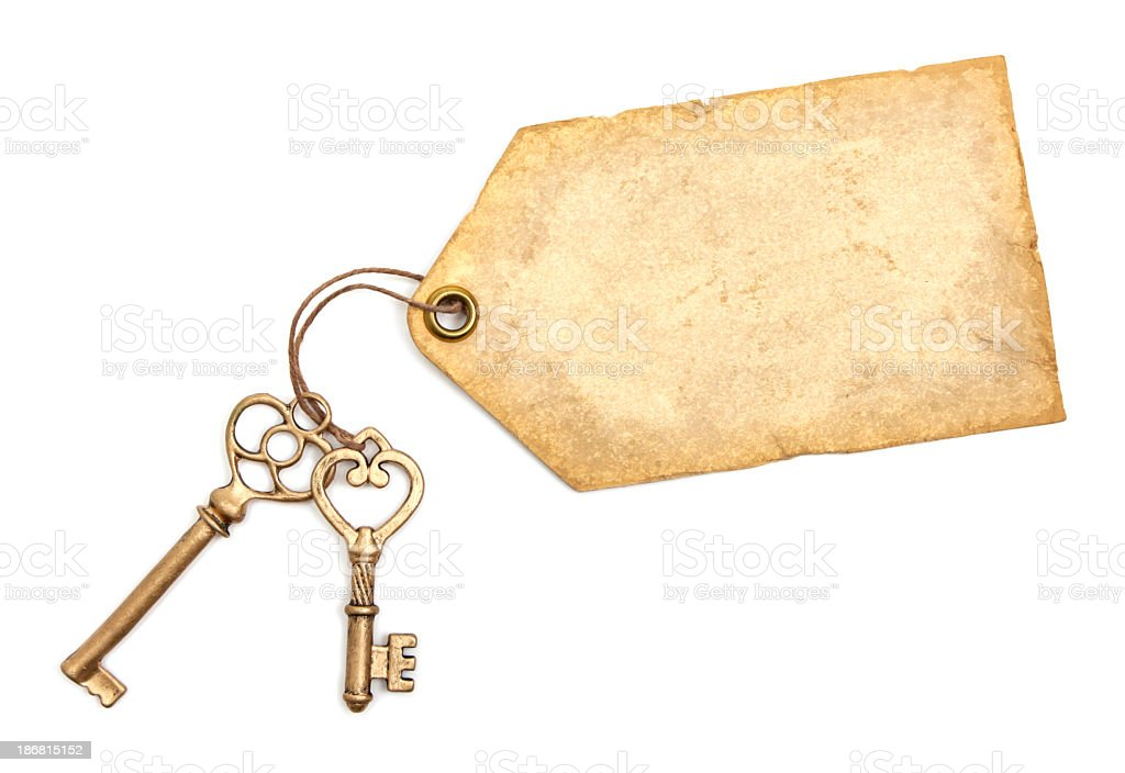Antique keys and label stock photo