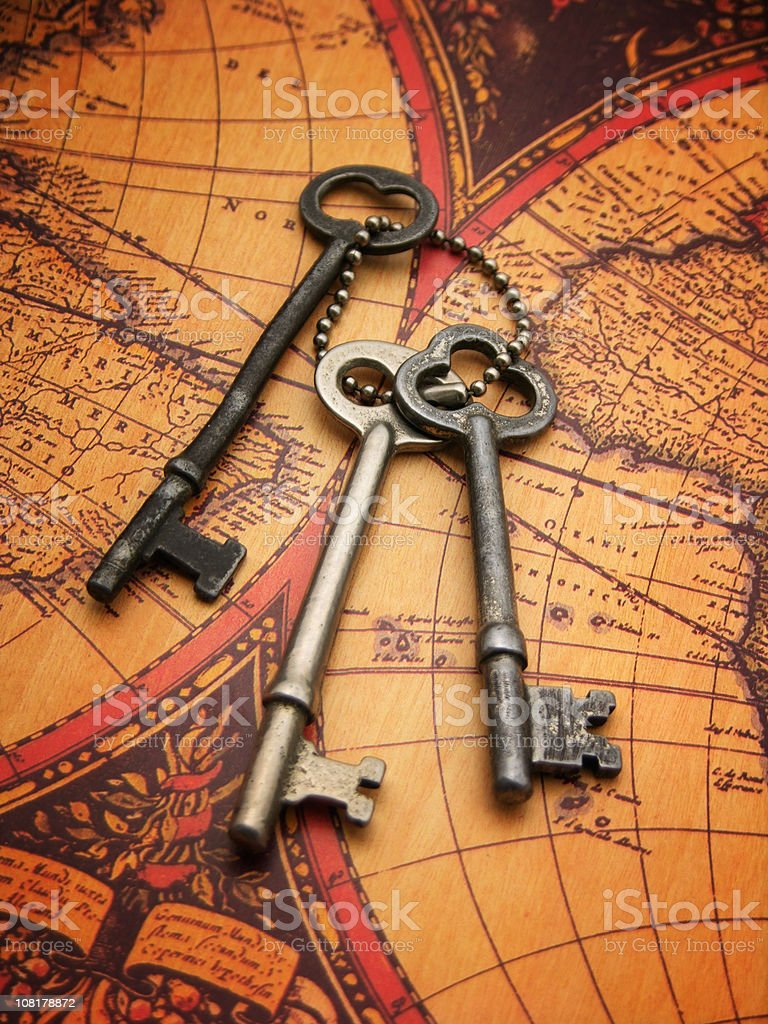 Antique Keys and Map royalty-free stock photo