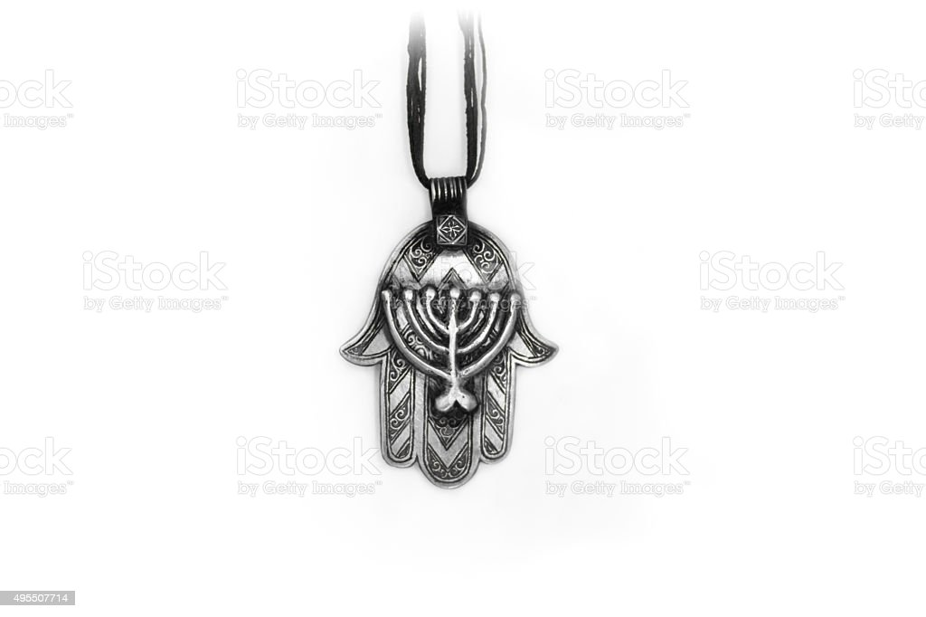 Antique Khamsa Talisman Pendant with Jewish Menorah Design, White Background stock photo