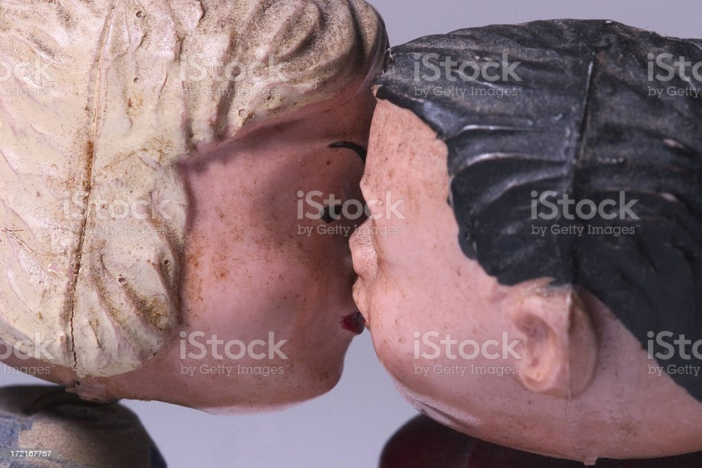 Antique Kissing Dolls - 'Love' royalty-free stock photo