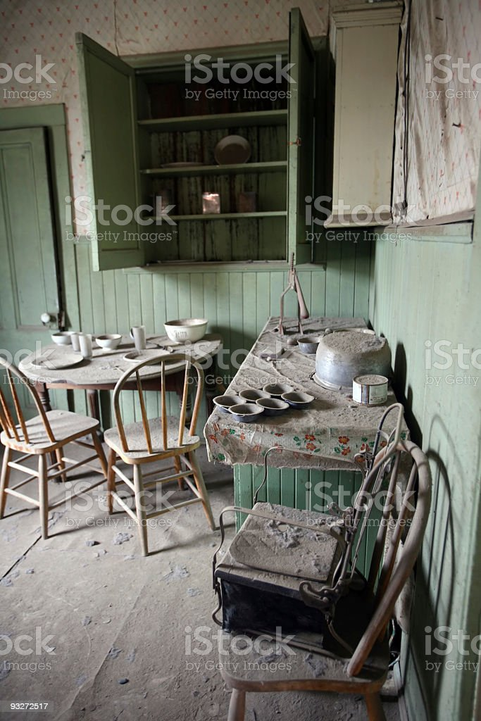 Antique Kitchen in a Ghost Town stock photo